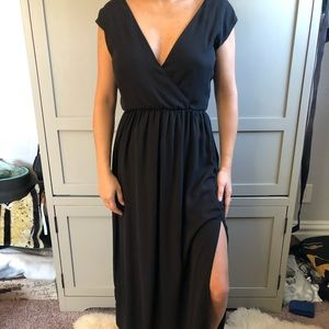 Formal Maxi Dress with Lace Back Detail